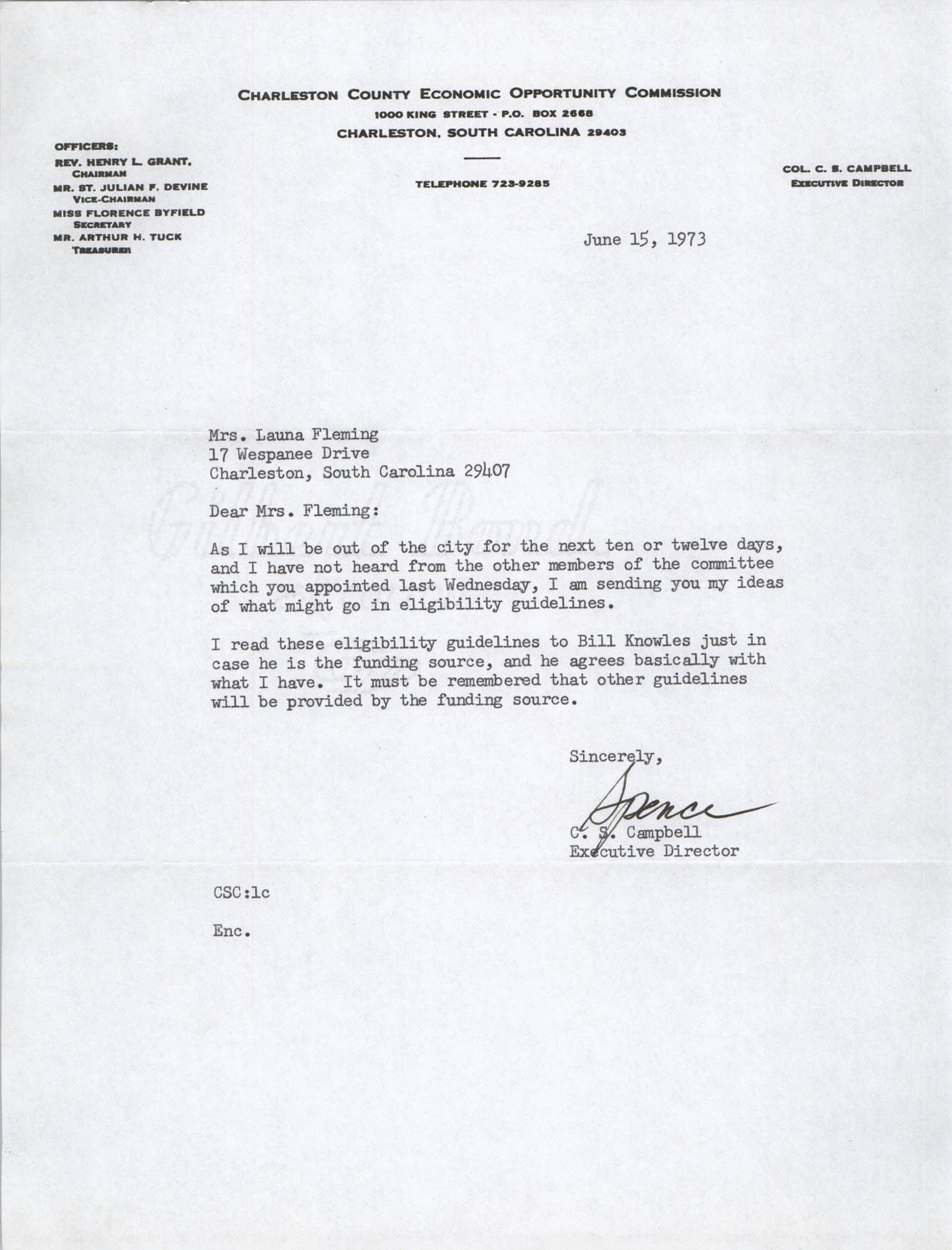 Letter from C. S. Campbell to Launa Fleming, February 2, 1973