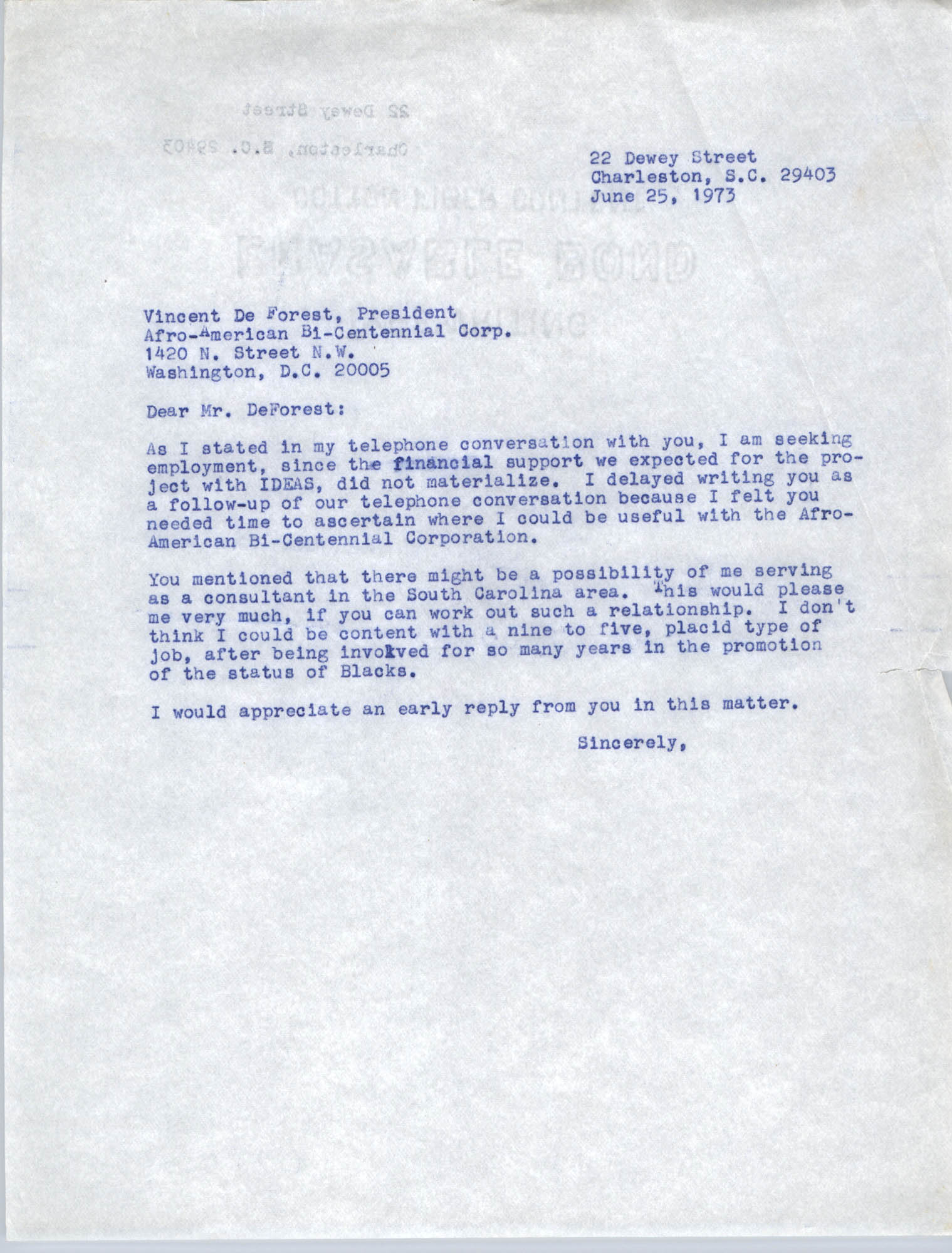Letter from Bernice Robinson to Vincent De Forest, June 25, 1973