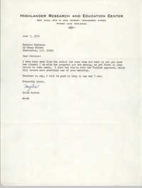 Letter from Myles Horton to Bernice Robinson, June 7, 1973