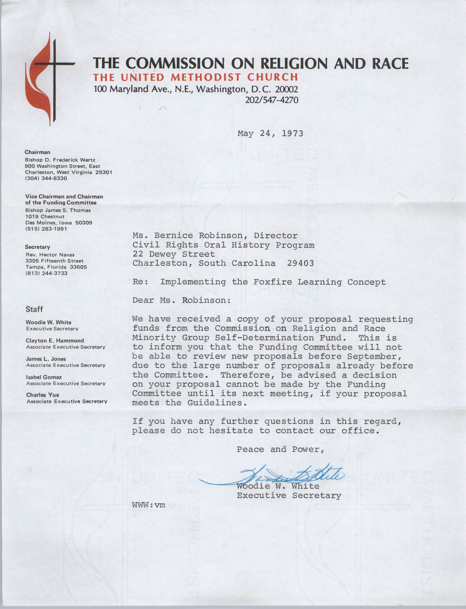 Letter from Woodie White to Bernice Robinson, May 24, 1973