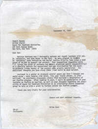 Letter from Brian Beun to Robert Newman, September 25, 1972