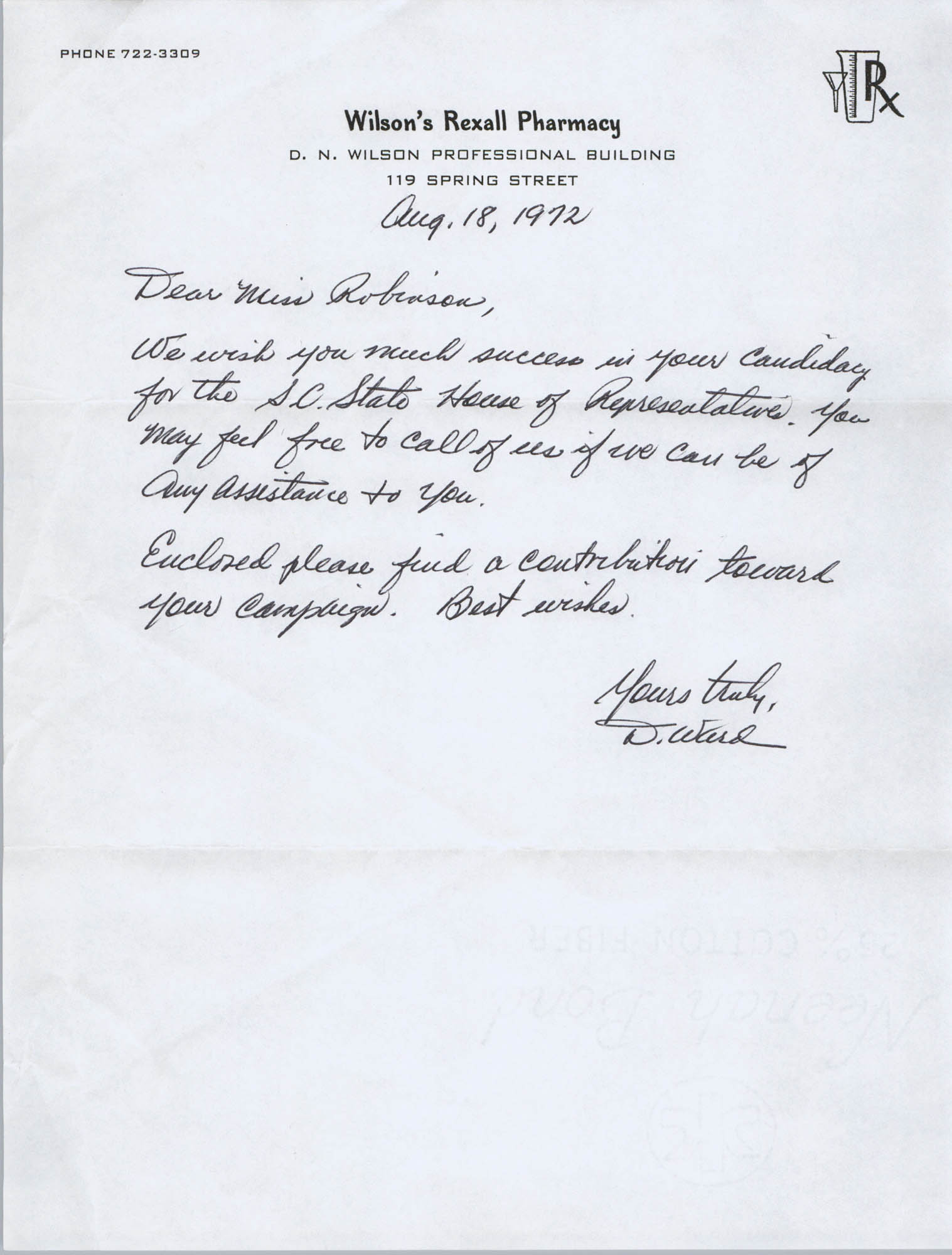 Letter from D. Ward to Bernice Robinson, August 18, 1972