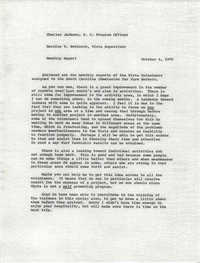 VISTA Memorandum, Monthly Progress Report, August 1970