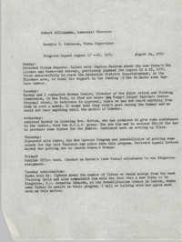 VISTA Progress Report, August 17-21, 1970