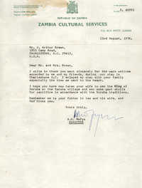 Letter from A. K. Mofya to J. Arthur Brown, August 23, 1976
