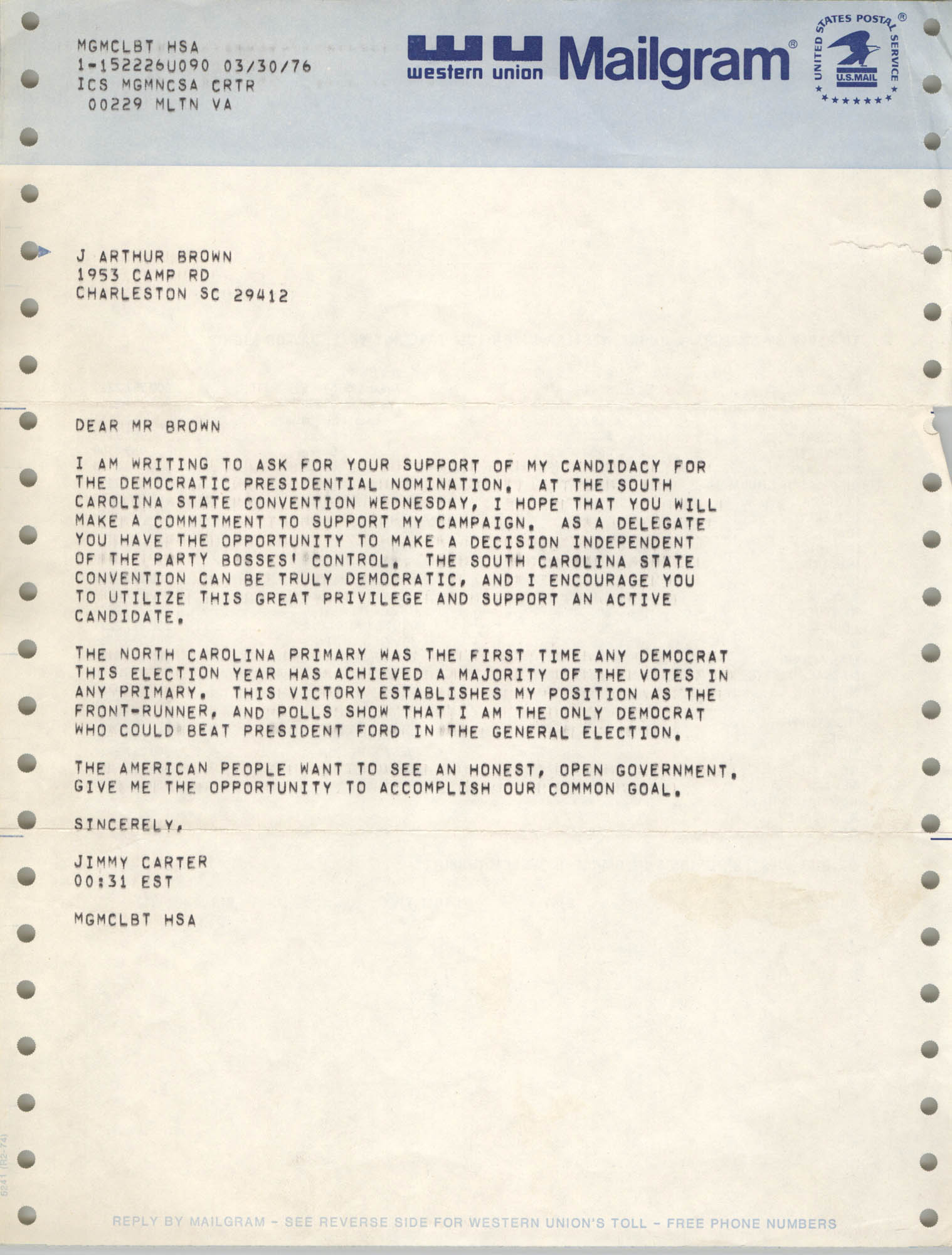 Letter from Jimmy Carter to J. Arthur Brown, March 30, 1976