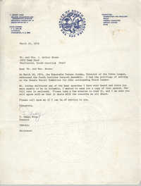 Letter from T. Dewey Wise to Mr. and Mrs. J. Arthur Brown, March 16, 1976