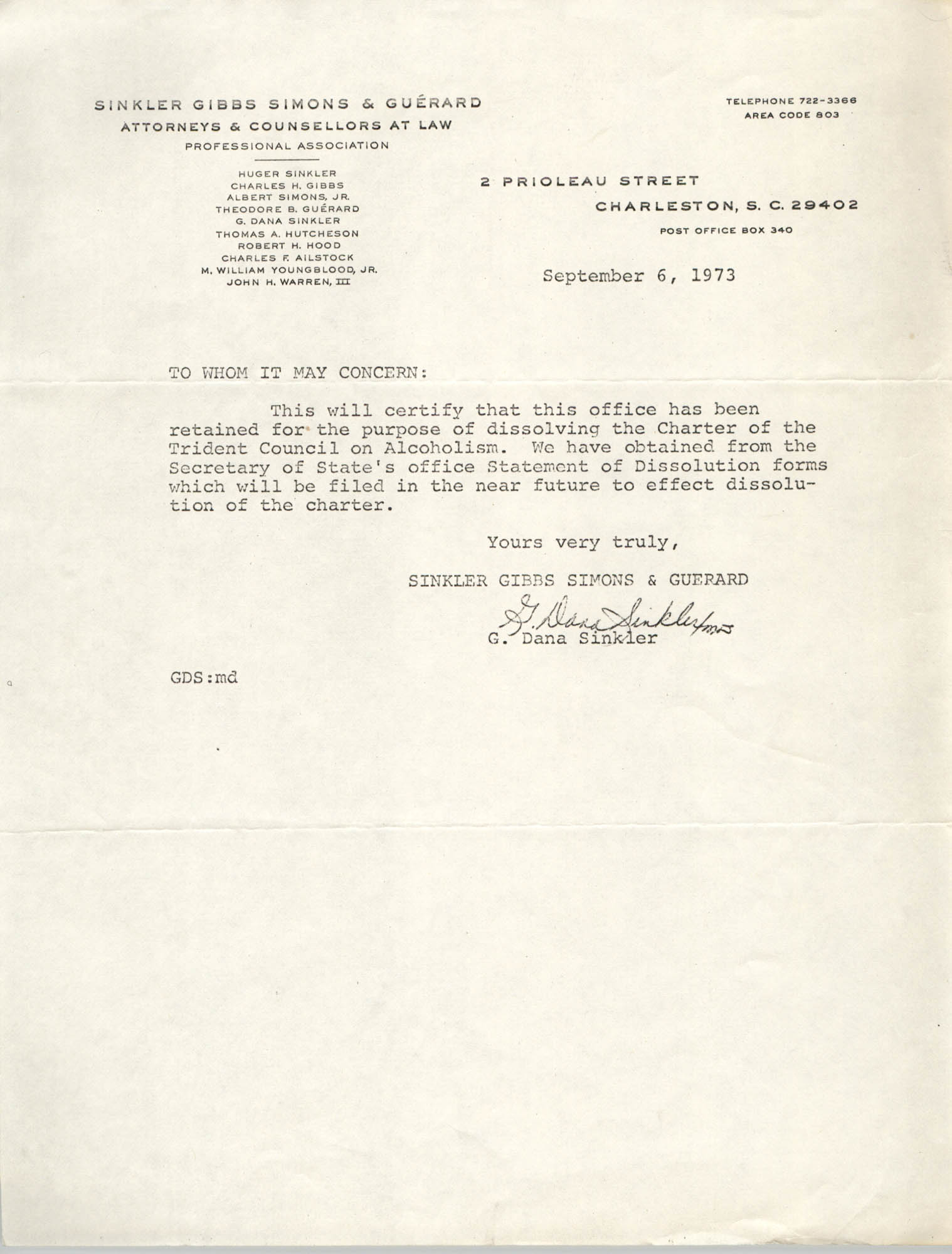 Letter from G. Dana Sinkler, September 6, 1973