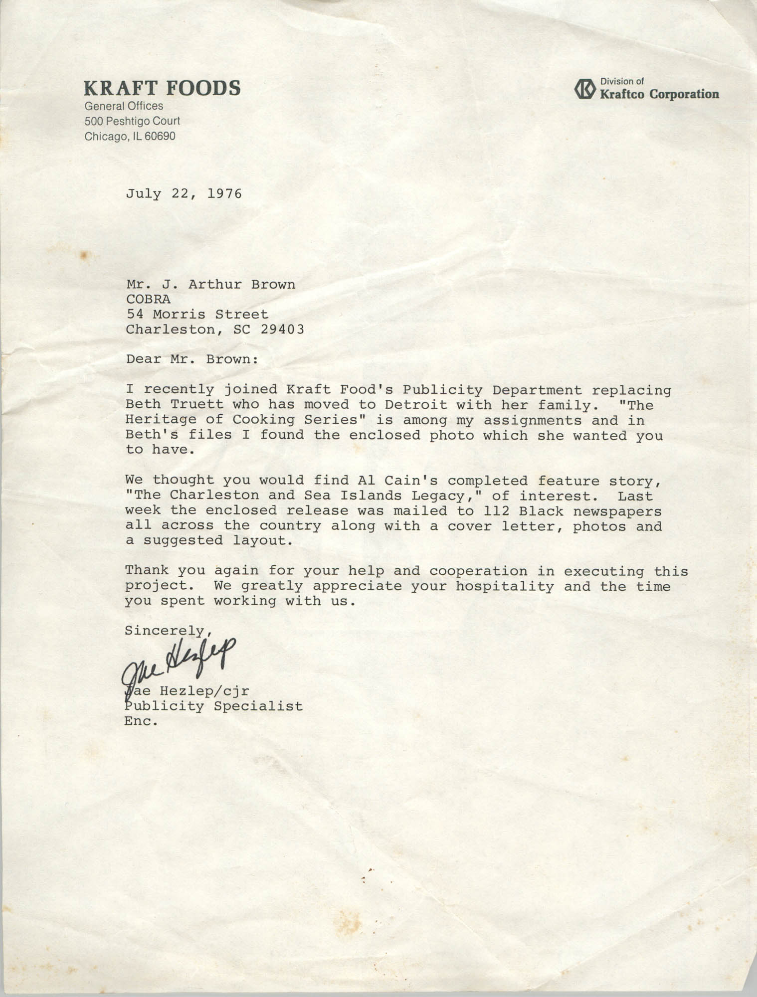 Letter from Jae Hezlep to J. Arthur Brown, July 22, 1976
