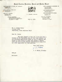 Letter from J. C. Moore to J. Arthur Brown, July 3, 1974