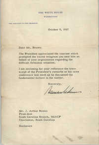 Letter from the White House to J. Arthur Brown, October 9, 1957