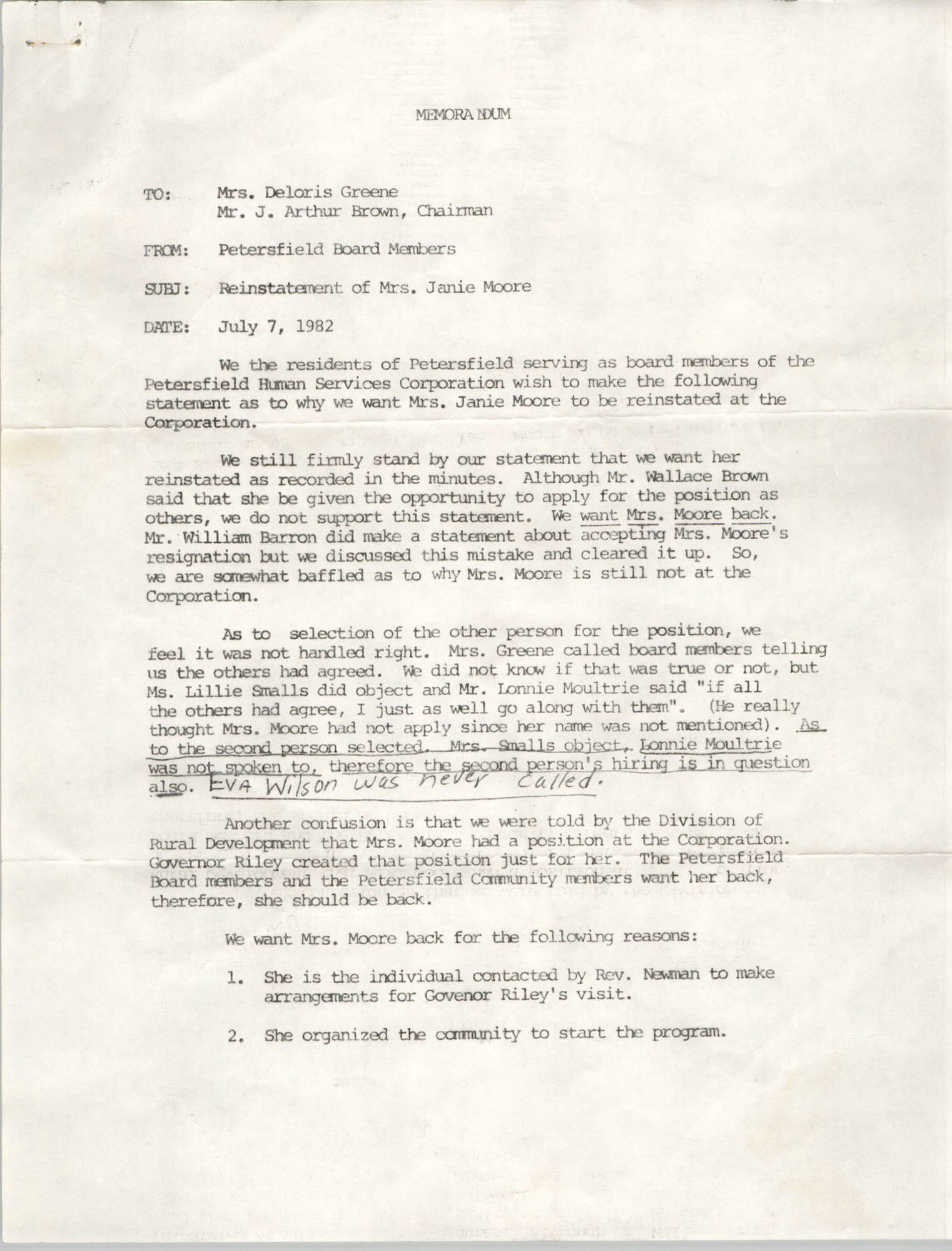 Letter from Petersfield Board Members to Deloris Greene and J. Arthur Brown, July 7, 1982