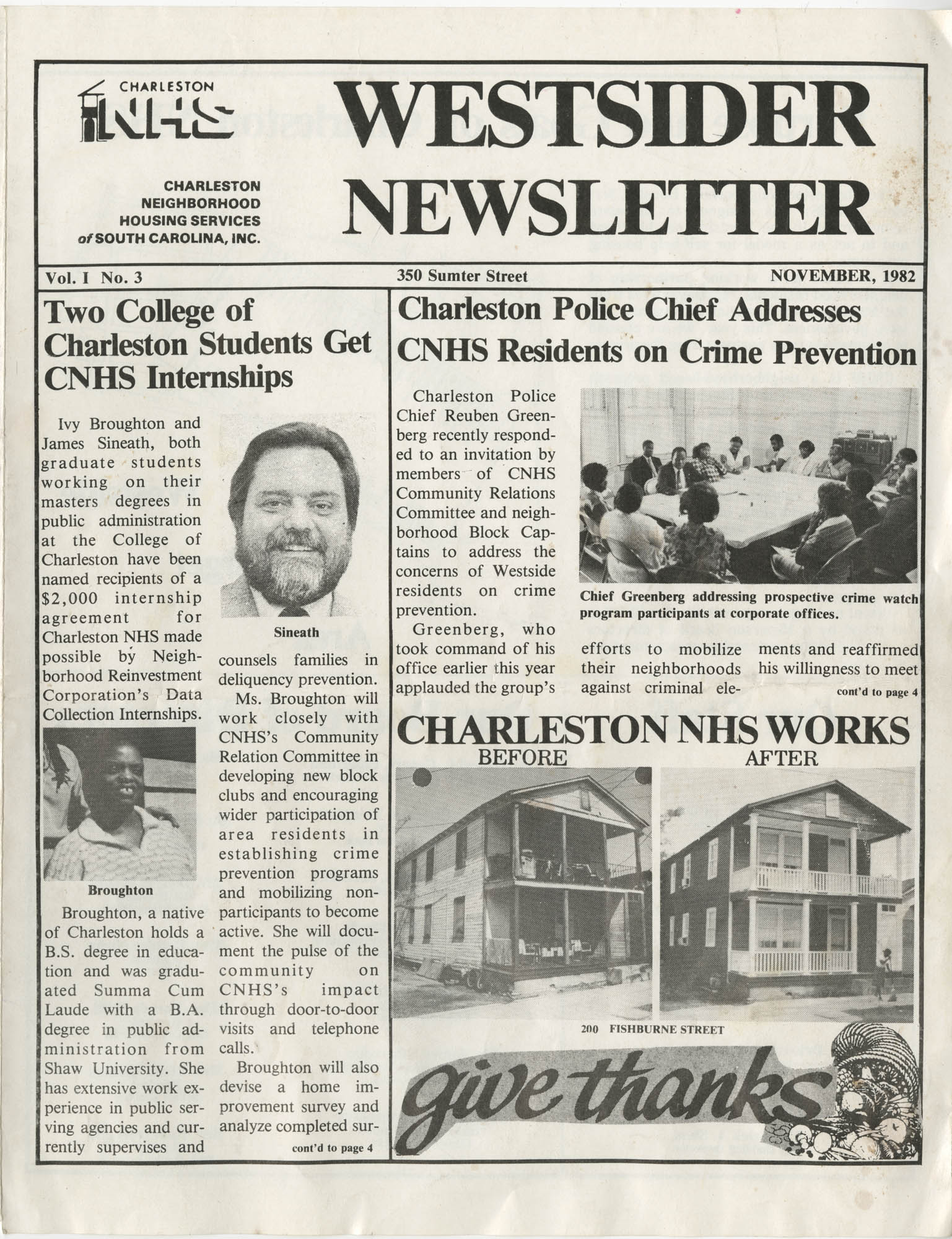 Westsider Newsletter, Vol. 1, No. 3, November 1982