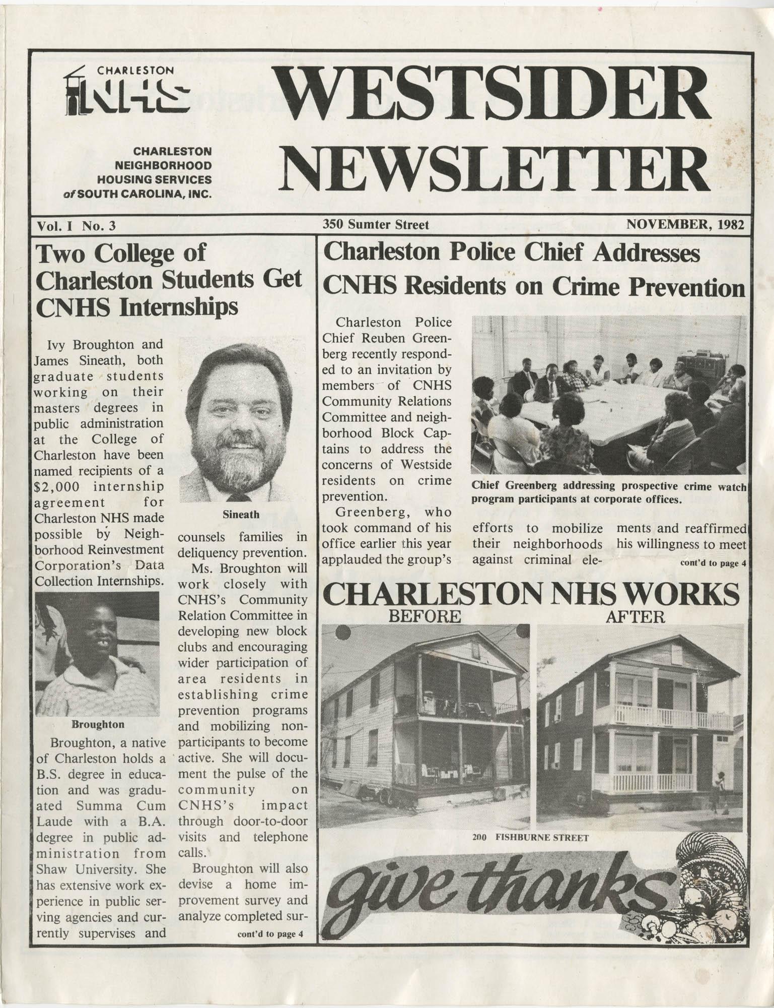 Westsider Newsletter, Vol. 1, No. 3, November 1982