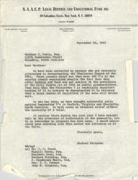 Letter from Michael Meltsner to Matthew J. Perry, September 22, 1965