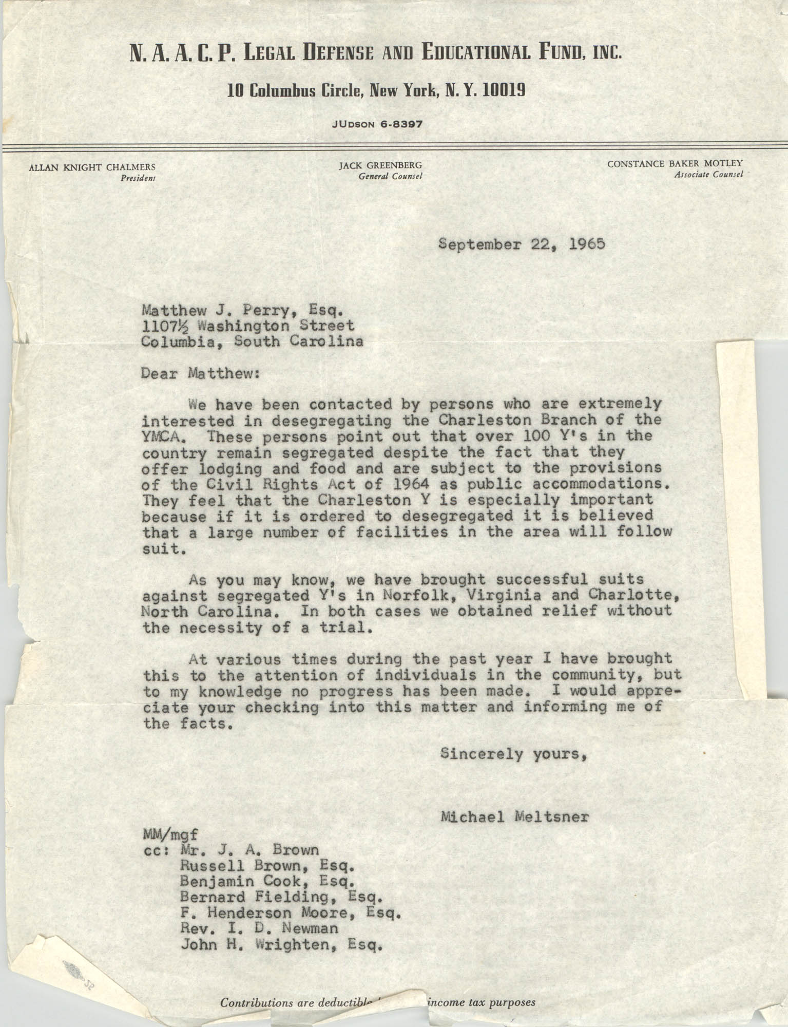 Letter from Michael Meltsner to Matthew J. Perry, September 22, 1965