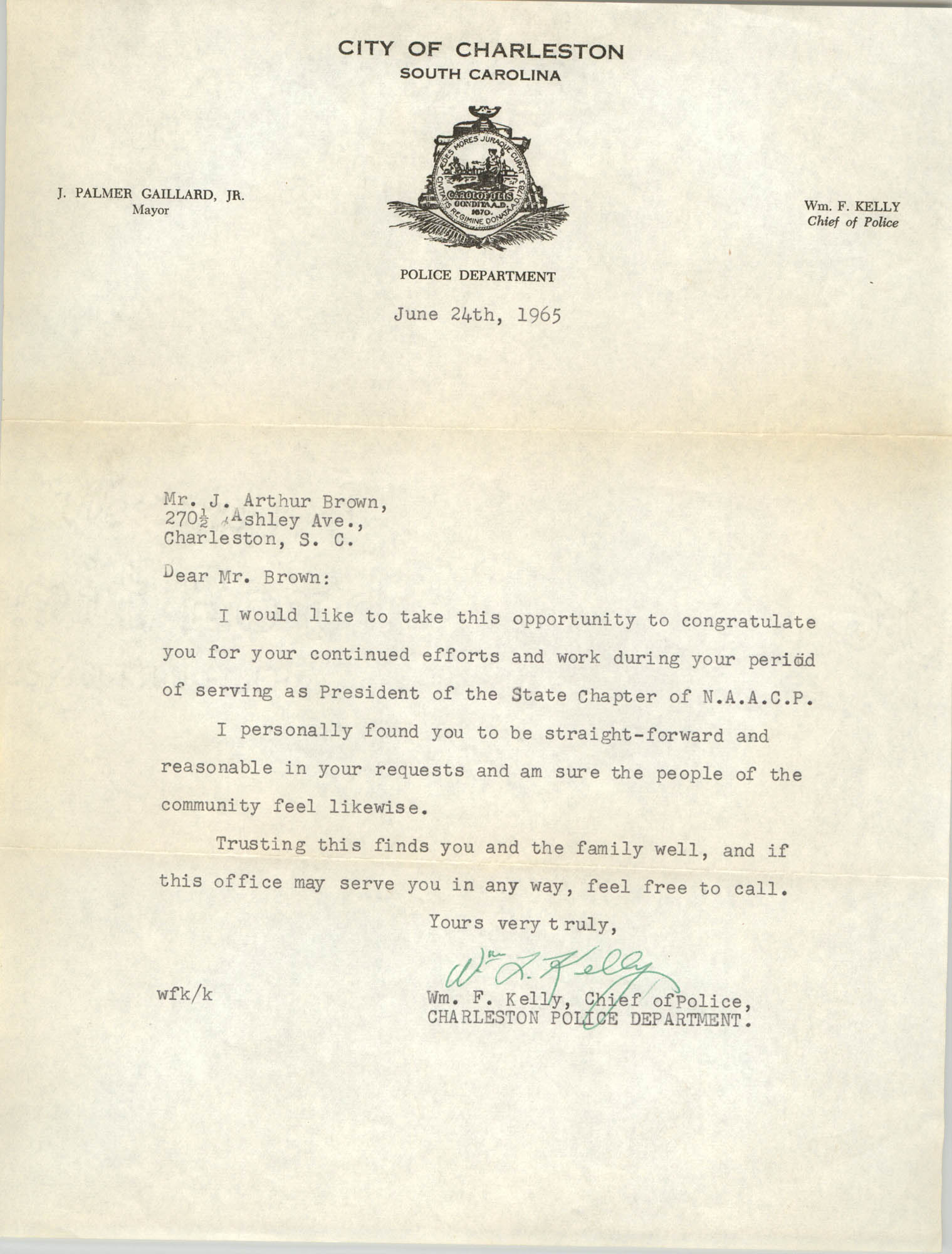 Letter from William F. Kelly to J. Arthur Brown, June 24, 1965