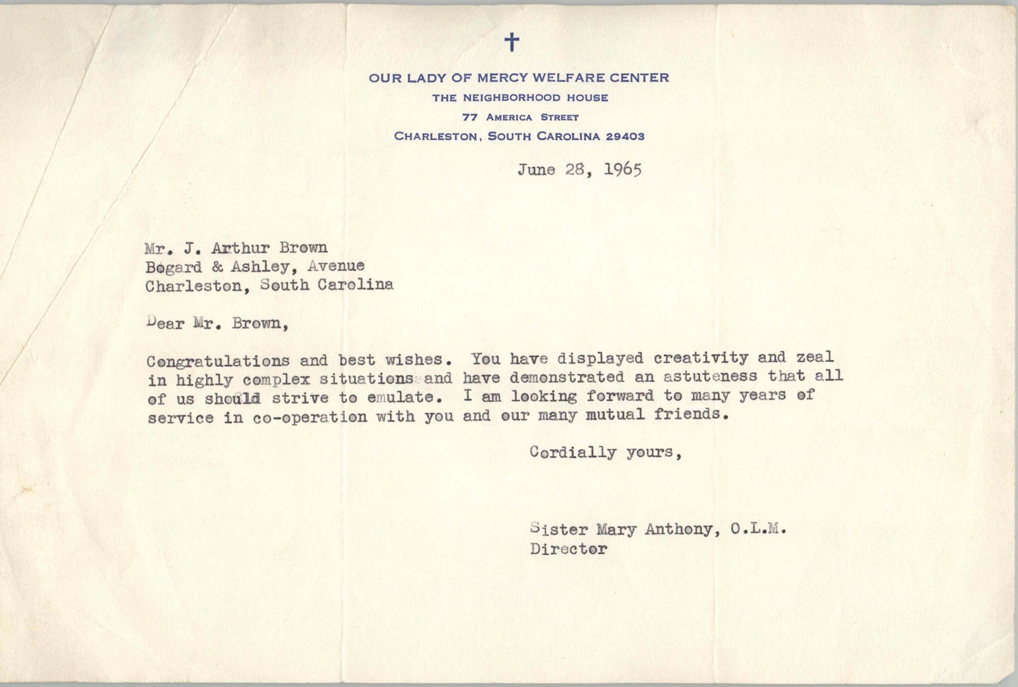 Letter from Sister Mary Anthony to J. Arthur Brown, June 28, 1965