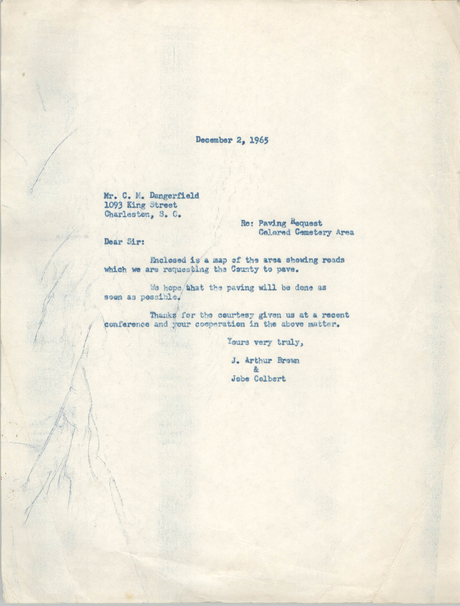 Letter from J. Arthur Brown and Jobe Colbert