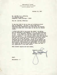 Letter from Benjamin E. Mays to Mr. and Mrs. W. L. McFarlin, October 16, 1967