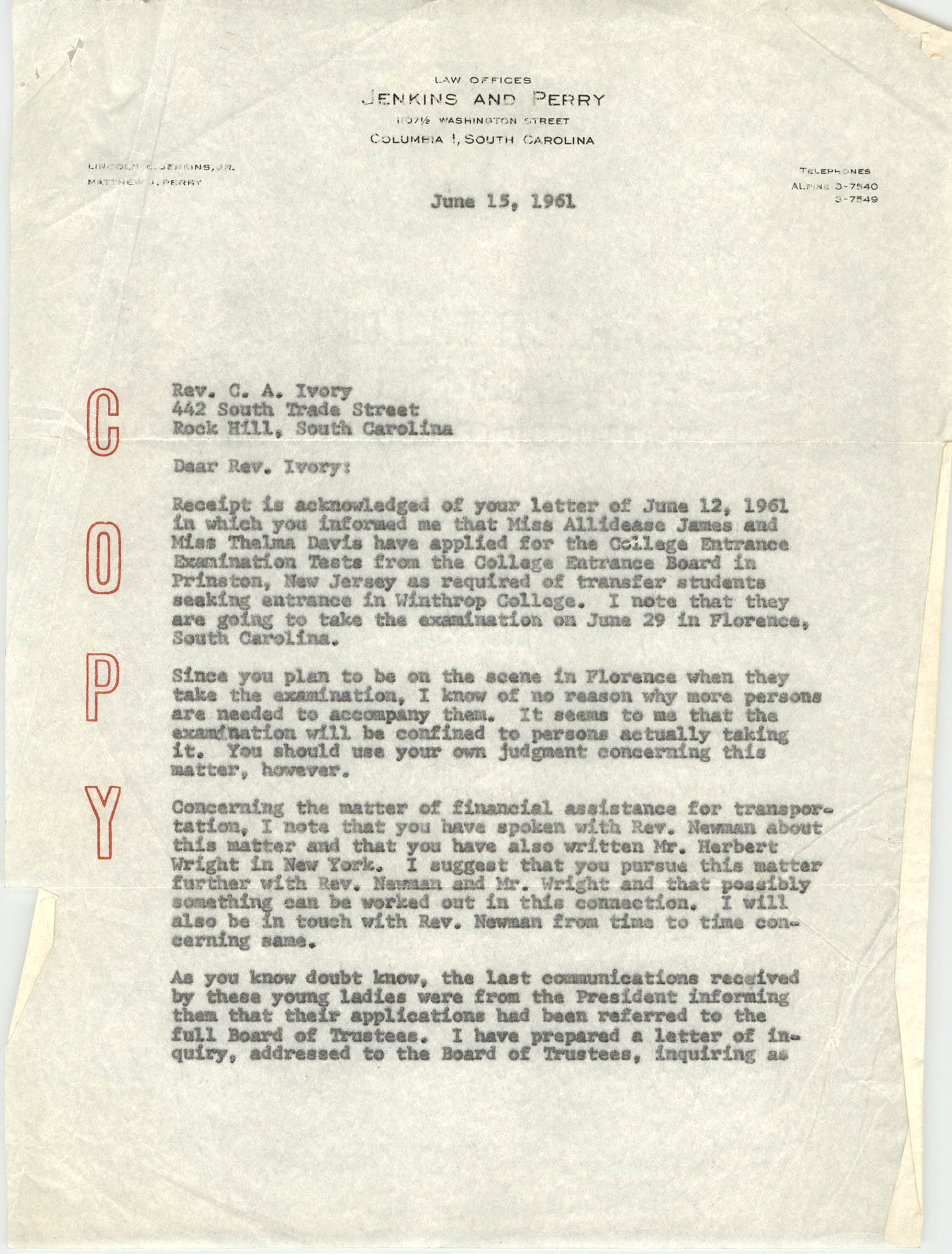 Letter from Matthew J. Perry to C. A. Ivory, June 15, 1961