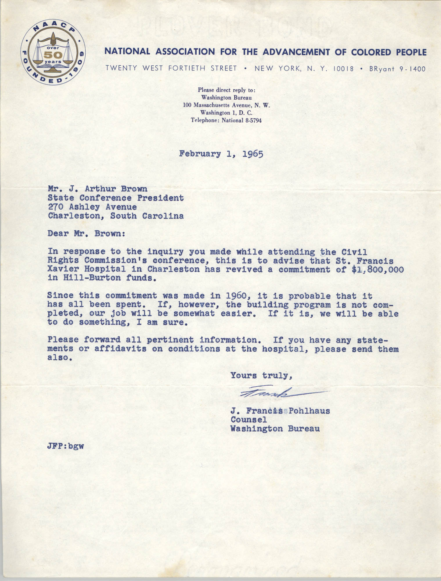 NAACP Memorandum, February 1, 1965
