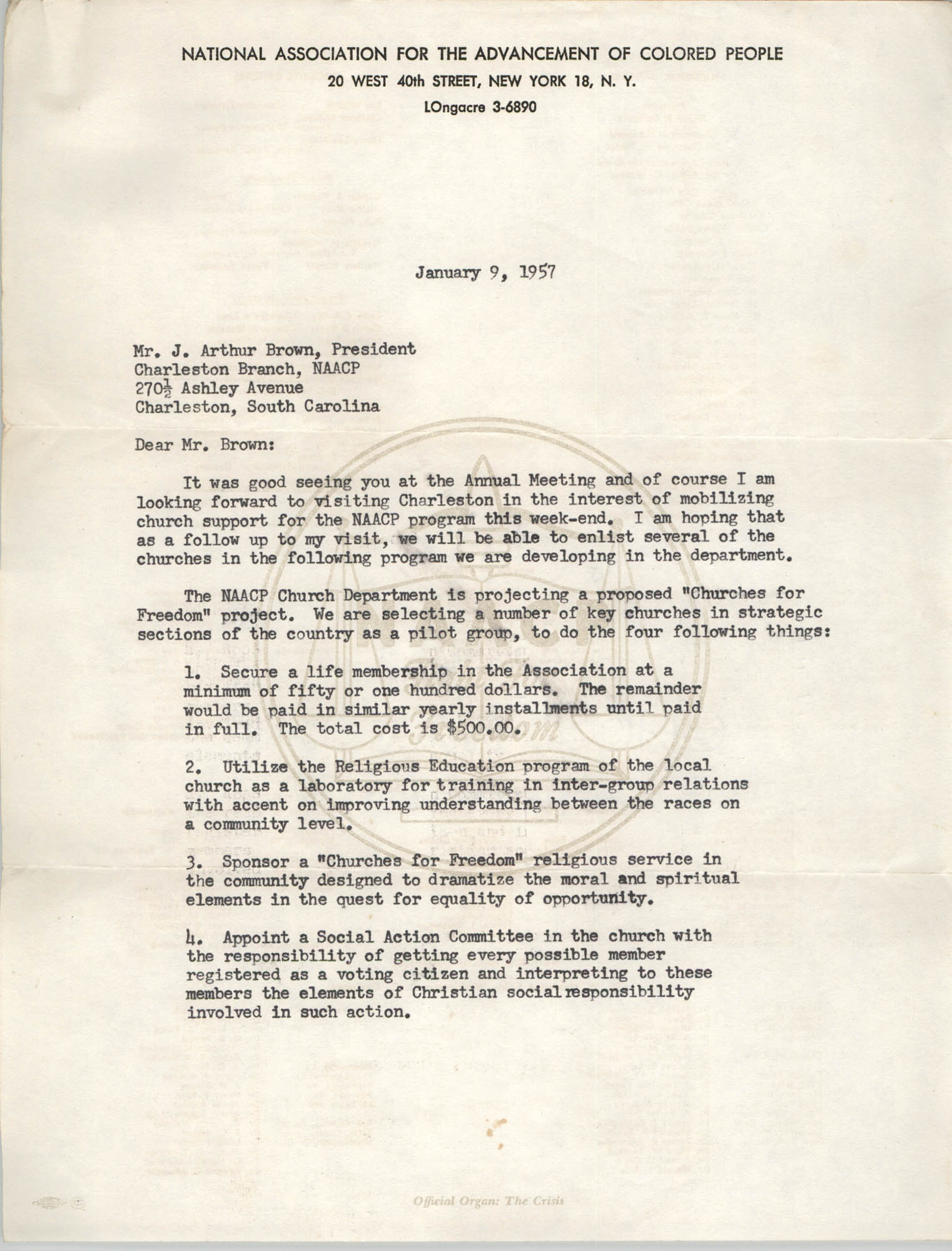 NAACP Memorandum, January 9, 1958