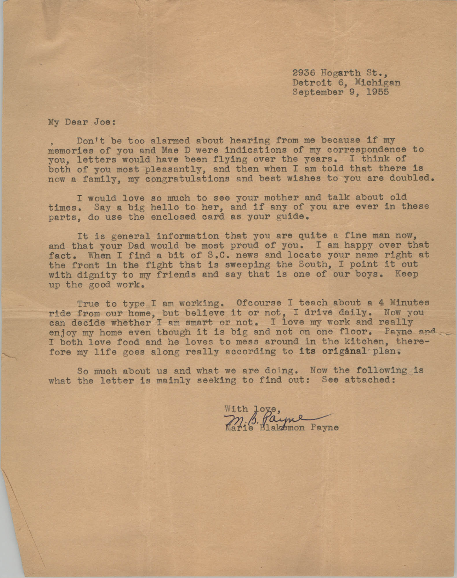 Letter from Marie Blakemon Payne to J. Arthur Brown, September 9, 1955
