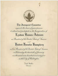Invitation to the Inauguration of Lyndon Baines Johnson as President of the United States of America
