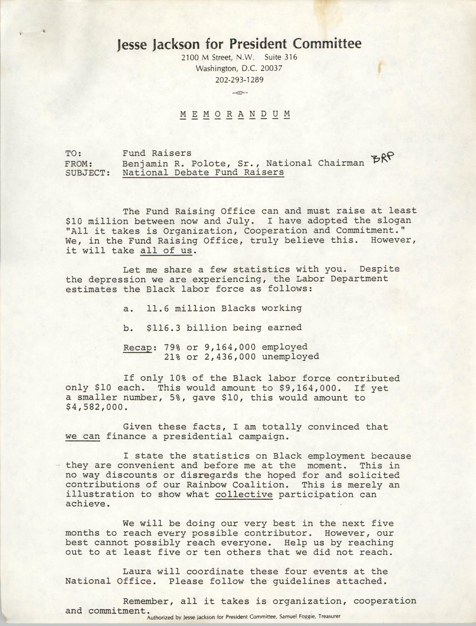Jesse Jackson for President Committee Memorandum