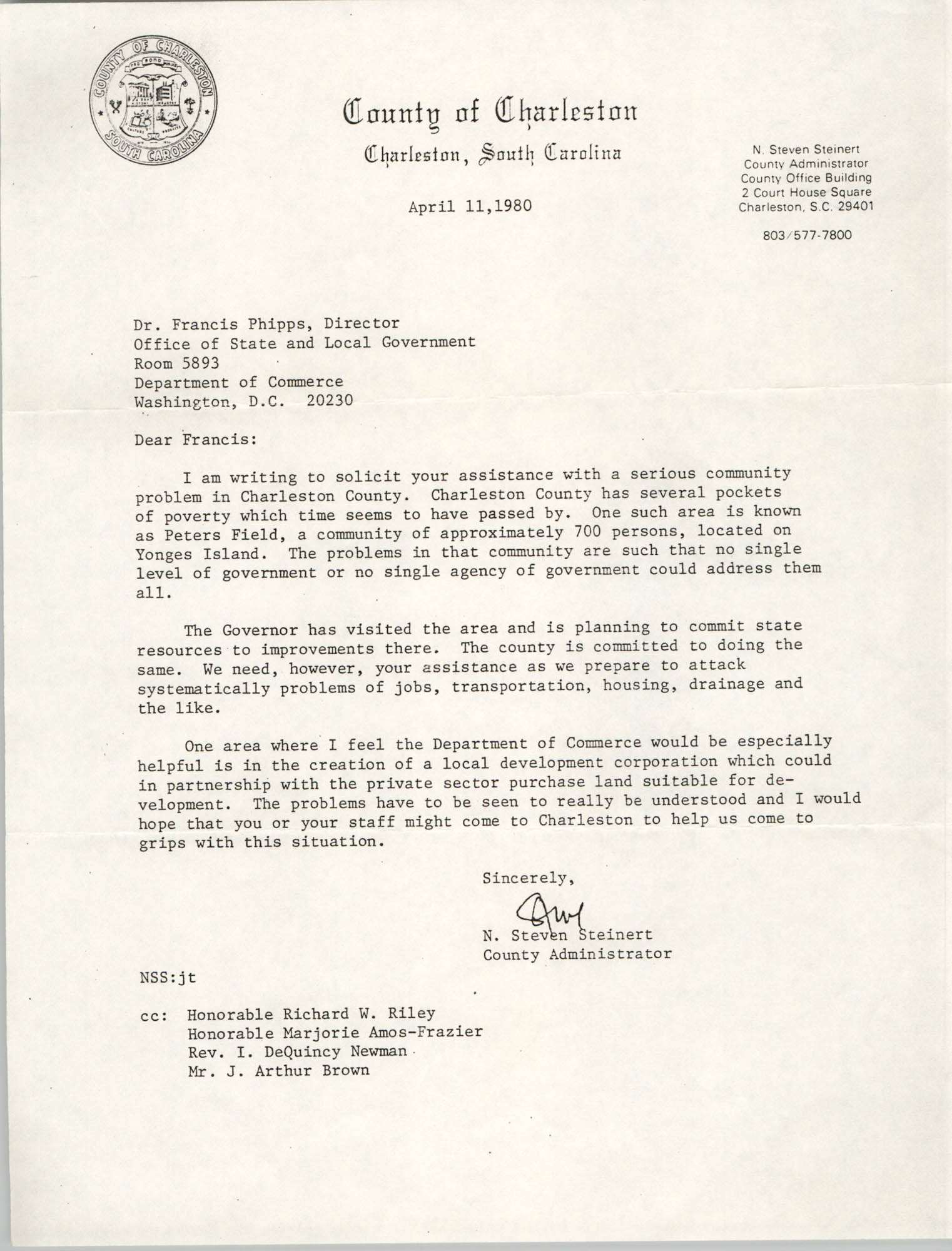 Letter from N. Steven Steinert to Francis Phipps, April 11, 1980