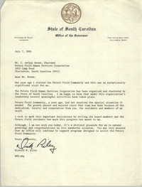 Letter from Richard W. Riley to J. Arthur Brown, July 7, 1981