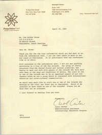 Letter from Carol Carter to J. Arthur Brown, April 25, 1980