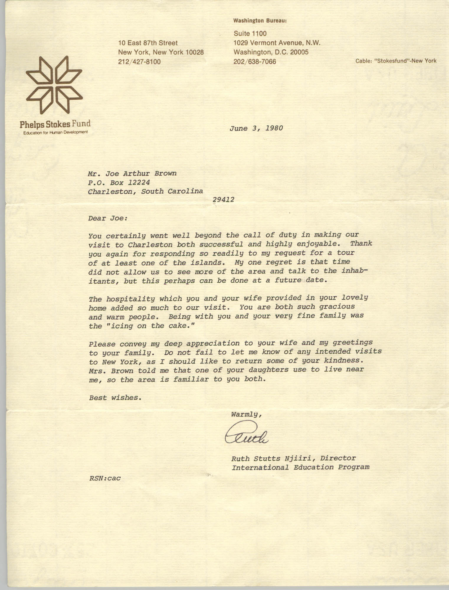 Letter from Ruth Stutts Njiiri to J. Arthur Brown, June 3, 1980