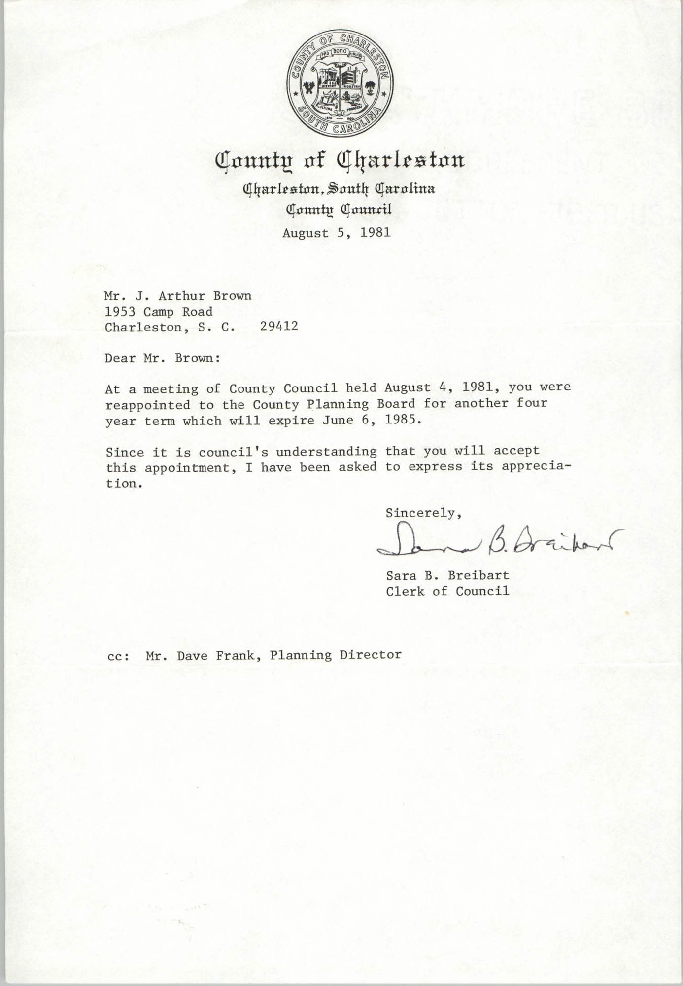Letter from Sara B. Breibart to J. Arthur Brown, August 5, 1981