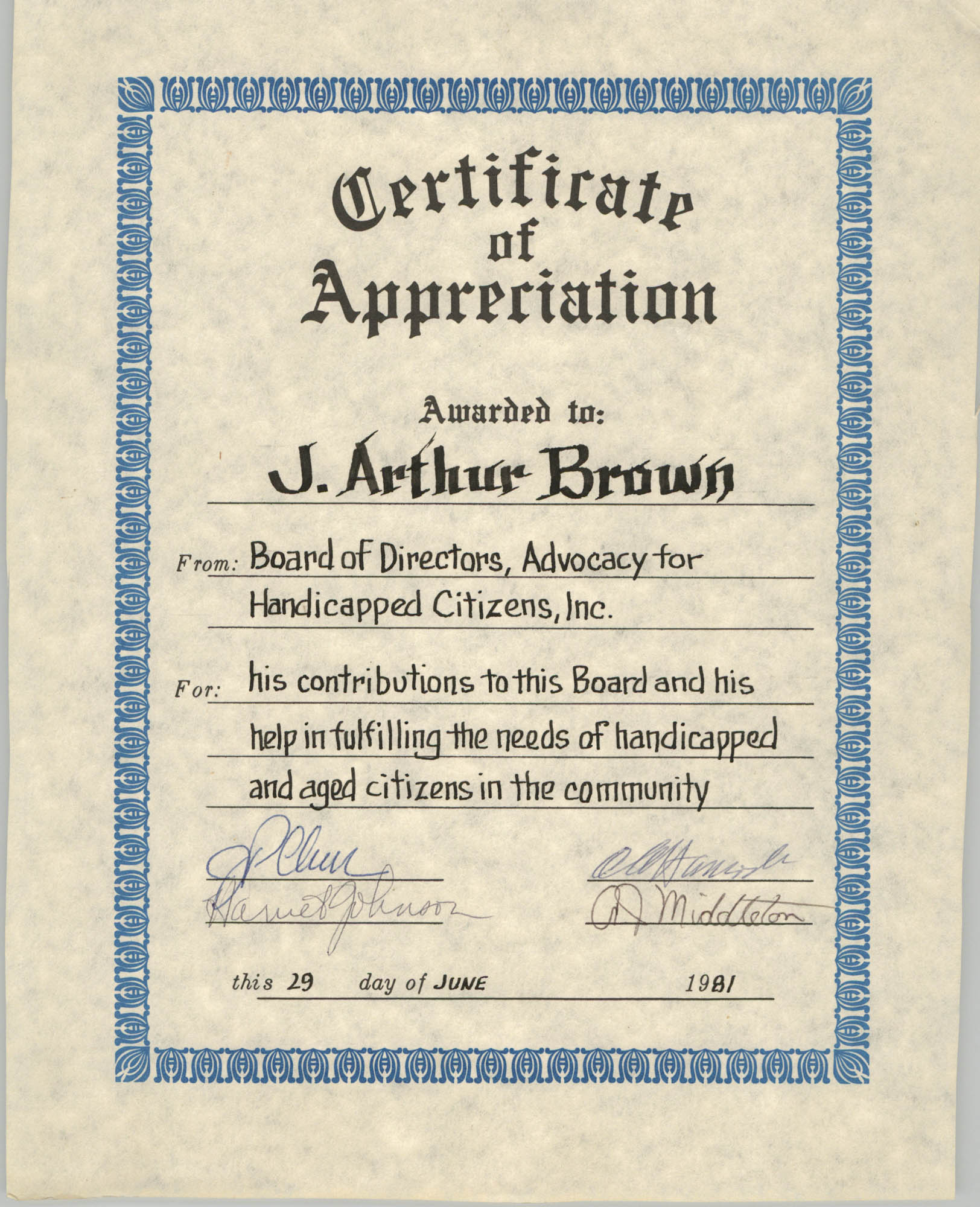 Advocacy for Handicapped Citizens Certificate of Appreciation Awarded to J. Arthur Brown