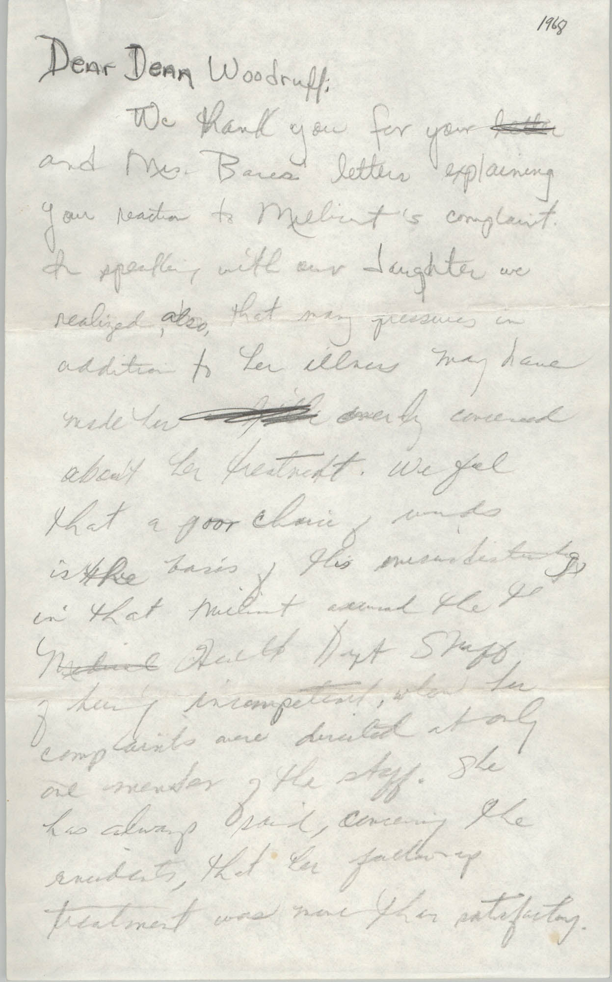 Letter to Oliver W. Woodruff, 1968