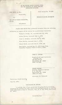 Civil Action No. 79-1042 Notice of Filing Affidavits, Charleston Division, Earl Davis, Jr. vs. The City of North Charleston