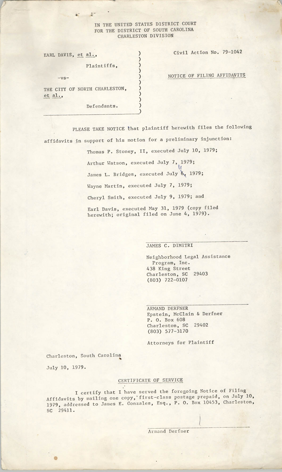 Civil Action No. 79-1042 Notice of Filing Affidavits, Charleston Division, Earl Davis, Jr. vs. The City of North Charleston
