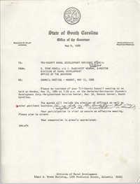 State of South Carolina, Office of the Governor, Memorandum, May 6, 1980