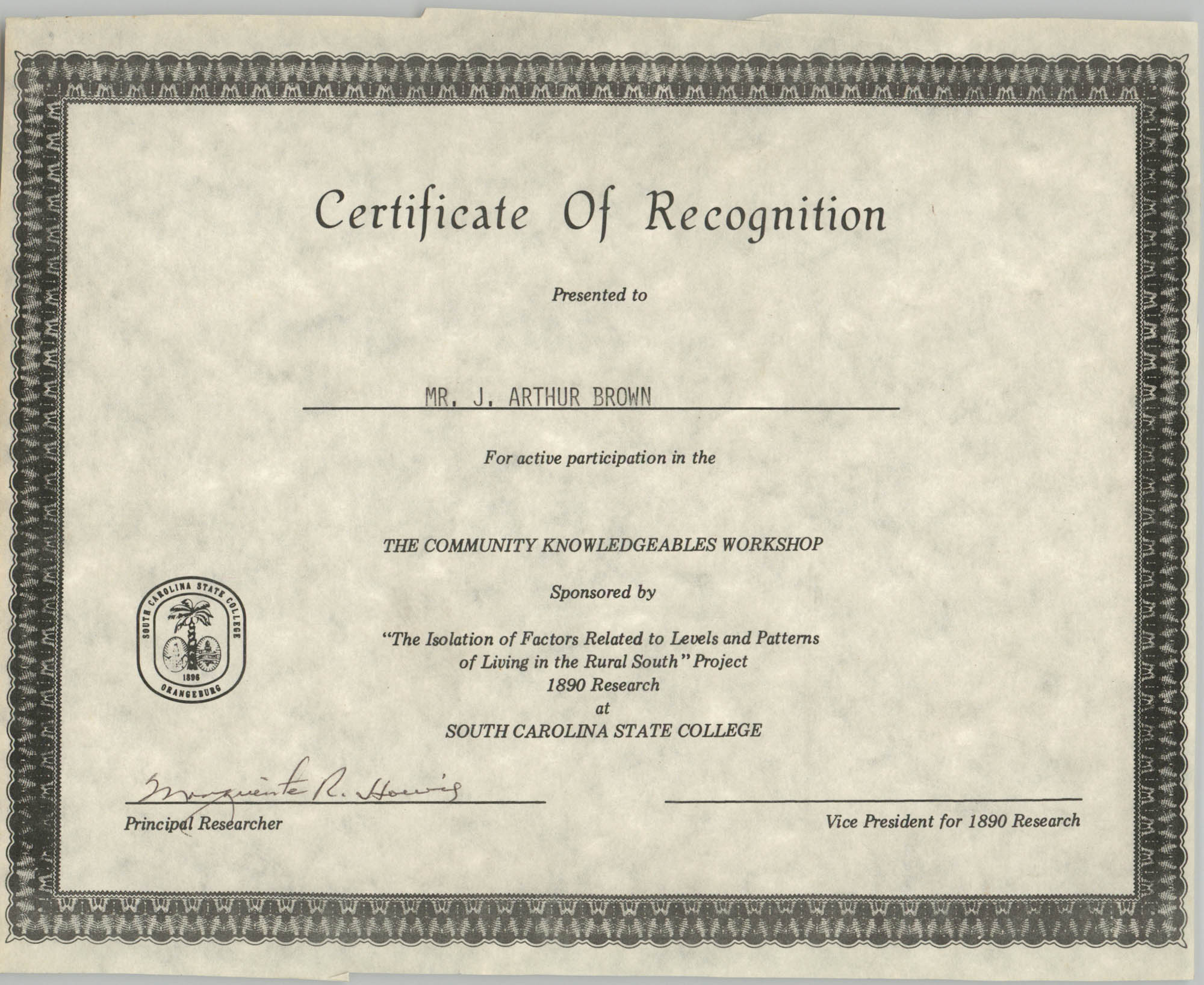 Democratic Women of Charleston County Certificate of Merit for J. Arthur Brown