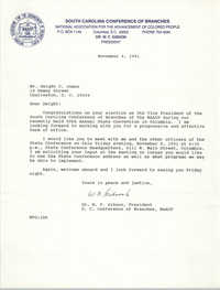 Letter from W. F. Gibson to Dwight C. James, November 4, 1991