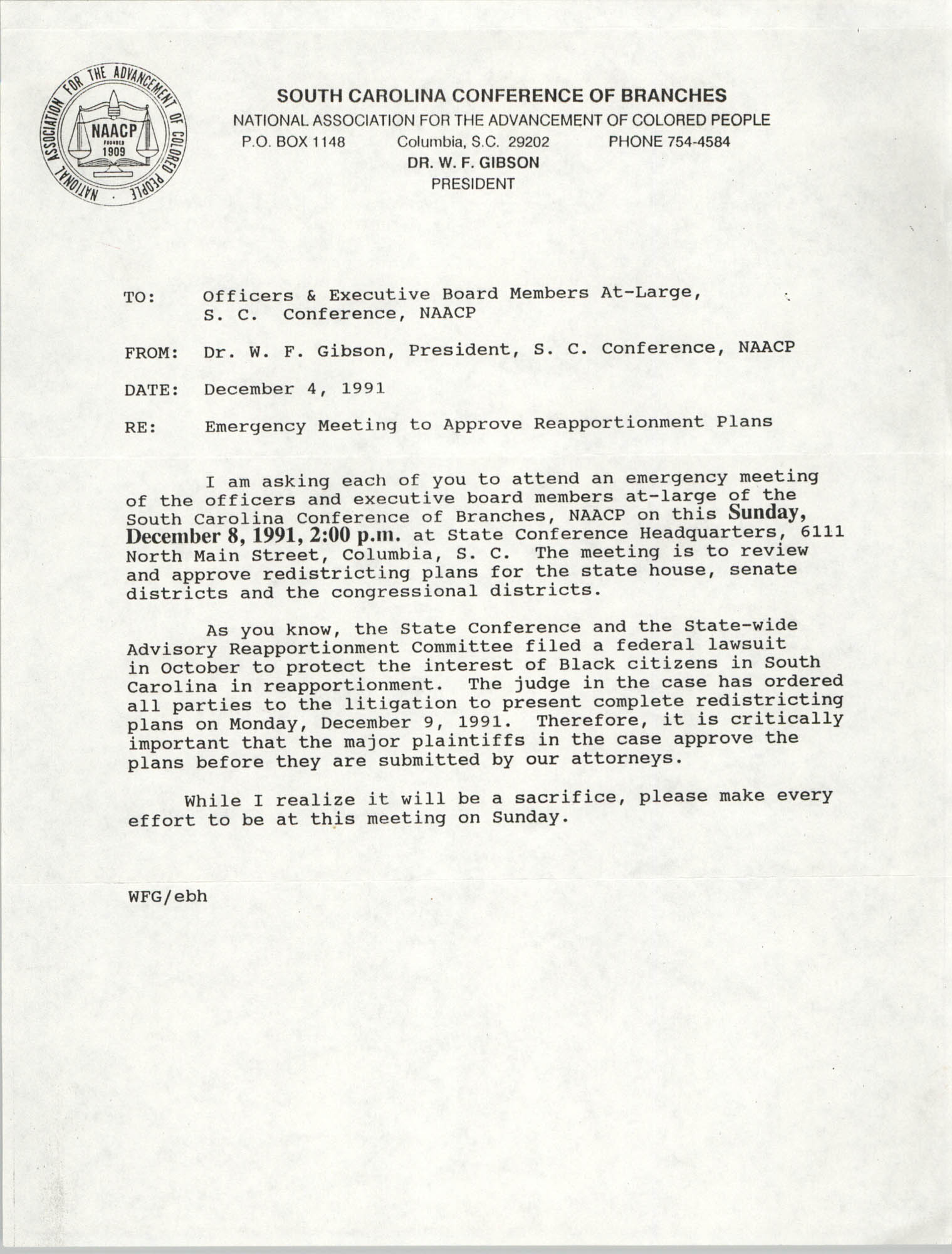 South Carolina Conference of Branches of the NAACP Memorandum, December 4, 1991