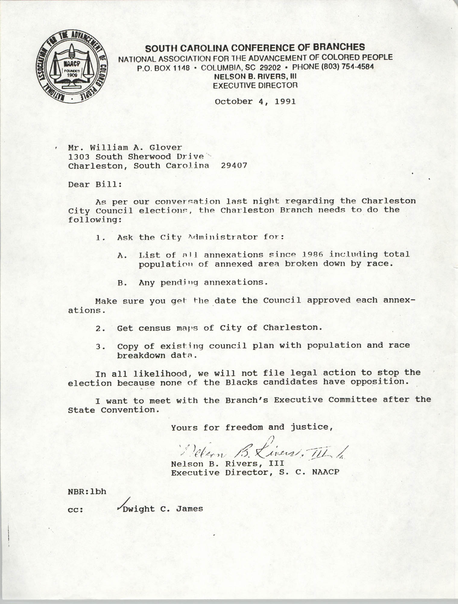 South Carolina Conference of Branches of the NAACP Memorandum, October 4, 1991