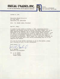 Letter from M. D. Rowland to Charleston Branch of the NAACP, October 8, 1991