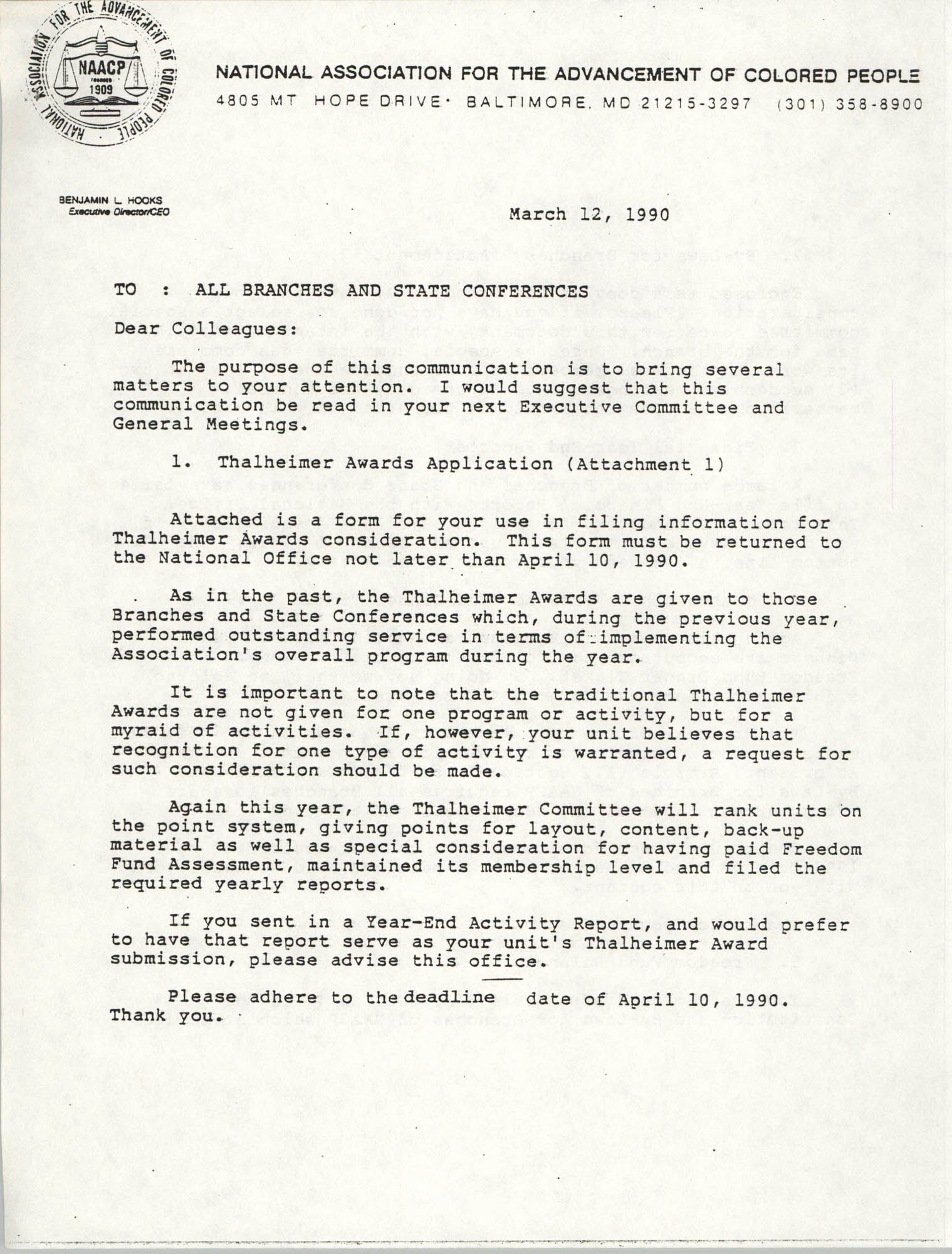 NAACP Memorandum, March 12, 1990