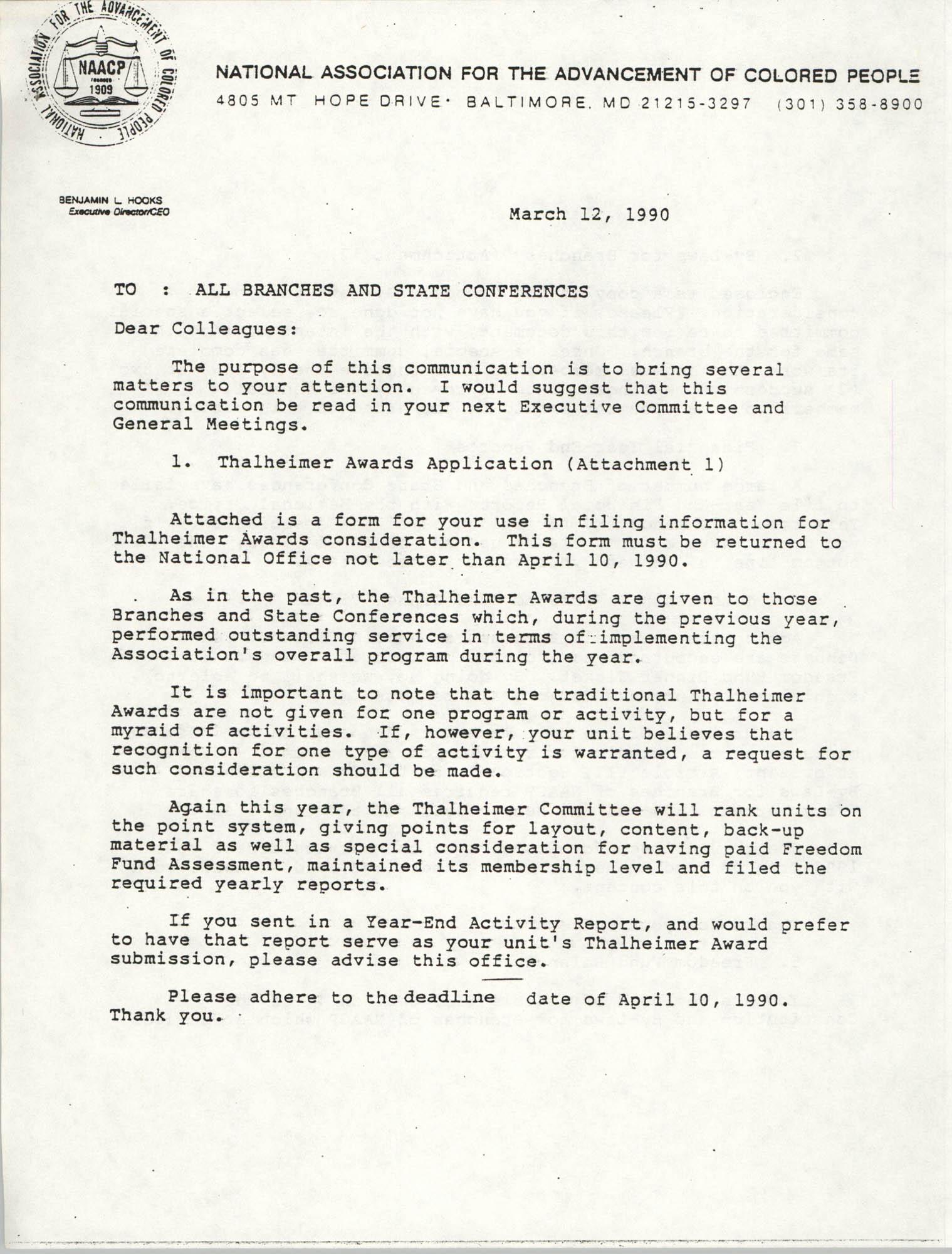 NAACP Memorandum, March 12, 1990
