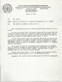 South Carolina Conference of Branches of the NAACP Memorandum, April 4, 1990