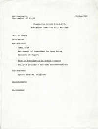 Charleston Branch of the NAACP Education Committee Agenda, June 21, 1990