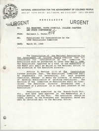 NAACP Memorandum, March 23, 1988